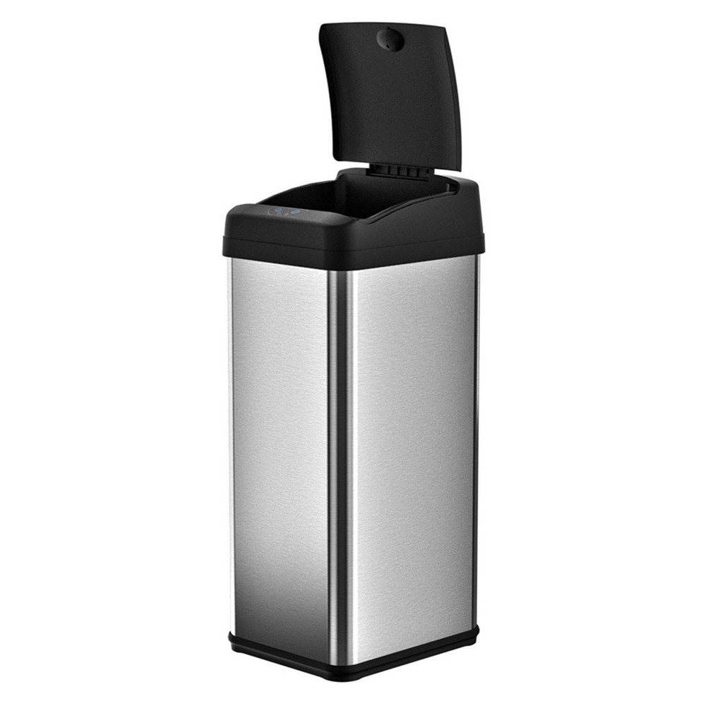 Image of 13gal Rectangular Stainless Steel Sensor Trash Can - Halo, Silver