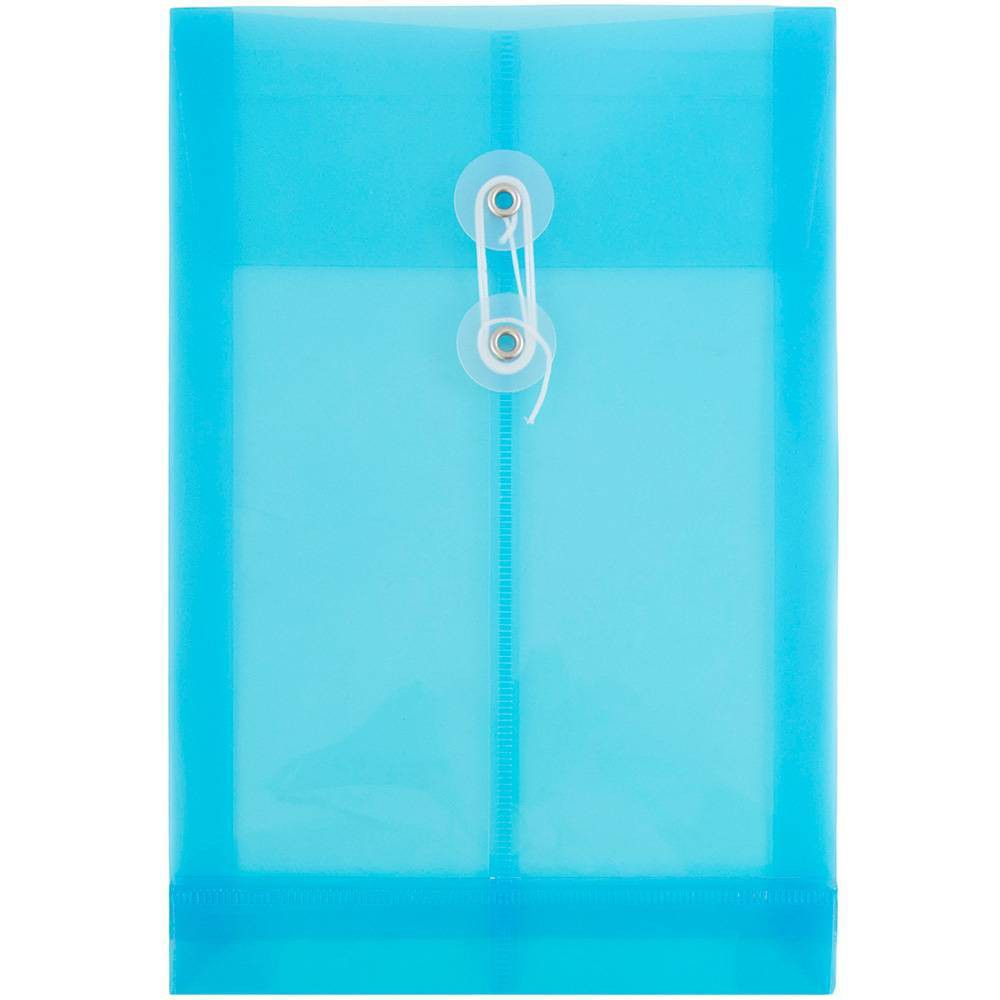 Jam Paper 6 1/4'' x 9 1/4'' 12pk Plastic Envelopes with Button and String Tie Closure, Open End - Blue