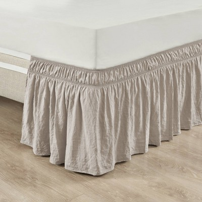 Ruched Ruffle Elastic Easy Wrap Around Bedskirt - Lush Décor