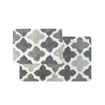 Alloy Moroccan Tiles 2 Piece Bath Rug Set Gray - Chesapeake Merchandising Inc.