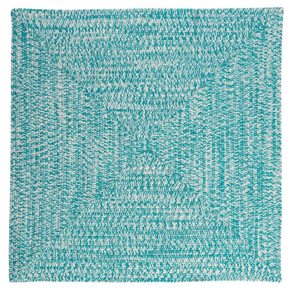Island Tweed Braided Square Area Rug Turquoise