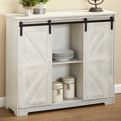 Lakeside Distressed Sideboard Buffet Cabinet with Sliding Rail Barn Doors
