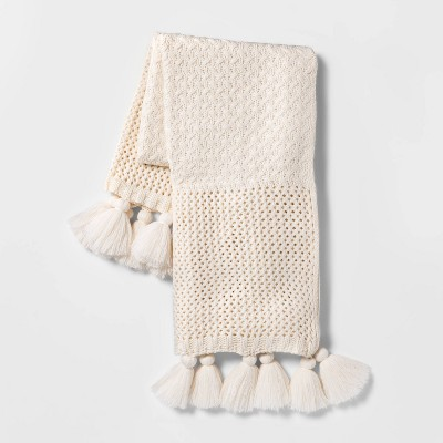 Chunky Knit with Tassels Throw Blanket Cream - Opalhouse™