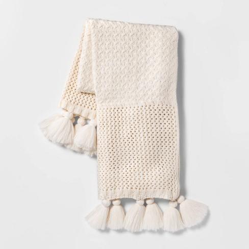 Chunky Knit Throw Blanket Cream - Opalhouse™ - image 1 of 4