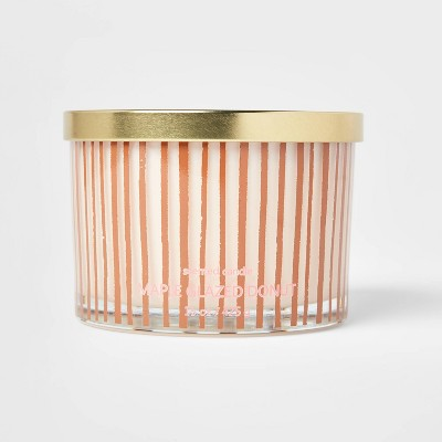 15oz Lidded Glass Jar Striped 3-Wick Maple Glazed Donut Candle - Opalhouse™