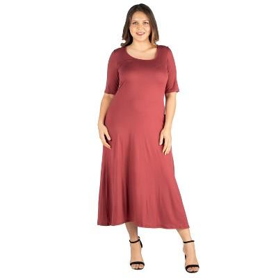 24seven Comfort Apparel Women's Plus Elbow Sleeve Maxi Dress