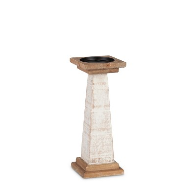 Lone Elm Studios Set of 2 11.8-inch Tall White Wood Pillar Candle Holders