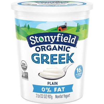 Stonyfield Organic Fat Free Plain Greek Yogurt - 32oz