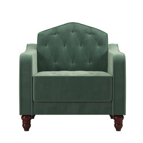 Miraculous Vintage Tufted Armchair Green Novogratz Andrewgaddart Wooden Chair Designs For Living Room Andrewgaddartcom