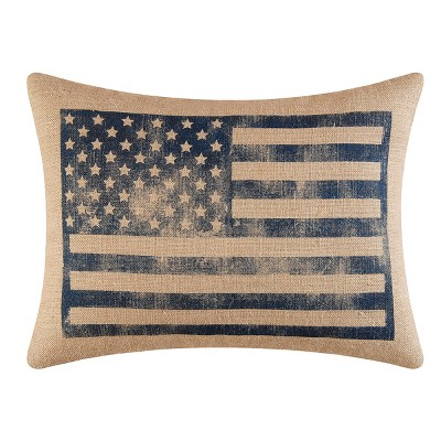 "C&F Home 18"" x 24"" American Flag Burlap Printed July 4th Pillow"