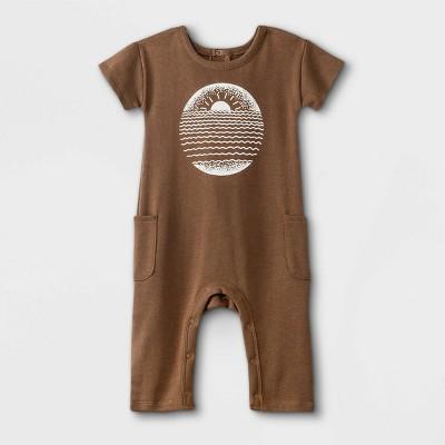Grayson Mini Baby Boys' Sunset Short Sleeve Romper - Brown 12M