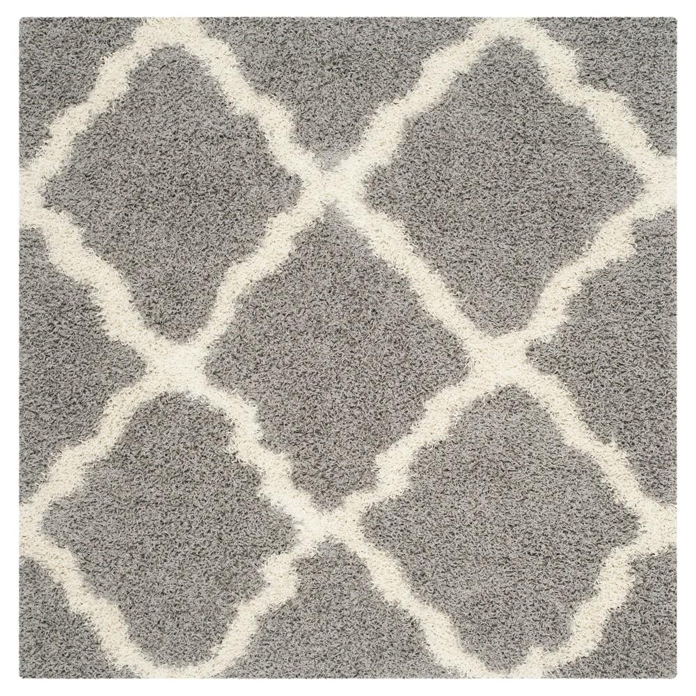 Gray/Ivory Geometric Shag/Flokati Loomed Square Area Rug - (6'X6') - Safavieh