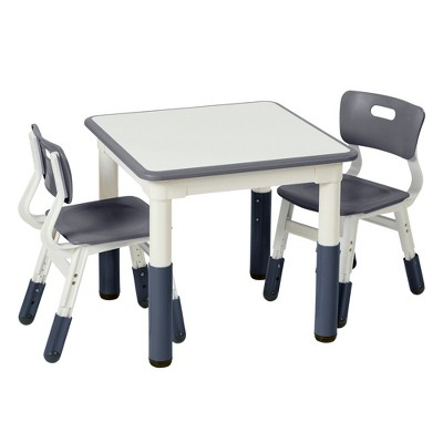 ECR4Kids Square Resin Dry-Erase Adjustable Activity Table with 2 Chairs (3-Piece Set)