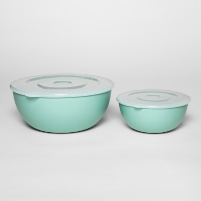 Plastic 2pc Mixing Bowl Set with Lid Aqua - Room Essentials™