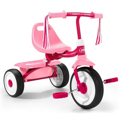 Radio Flyer 415PS Kids Readily Assembled Steel Framed Adjustable Beginner Fold 2 Go Trike with Spacious Storage Bin and Handle Streamers, Pink