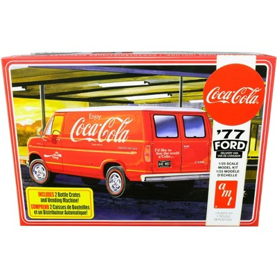 """Skill 3 Model Kit 1977 Ford Delivery Van with 2 Bottles Crates and Vending Machine """"Coca-Cola"""" 1/25 Scale Model by AMT"""