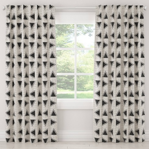 Unlined Triangle Tile Light Filtering Curtain Panel Black/White - Cloth & Co. - image 1 of 4