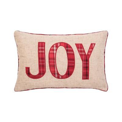 """C&F Home 14"""" x 22"""" Joy Plaid Applique Pillow"""