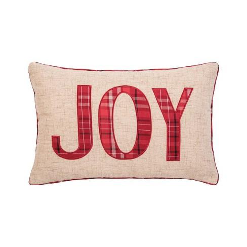 """C&F Home 14"""" x 22"""" Joy Plaid Applique Pillow - image 1 of 1"""