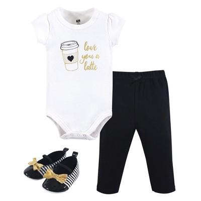 Hudson Baby Infant Girl Cotton Bodysuit, Pant and Shoe 3pc Set, Latte