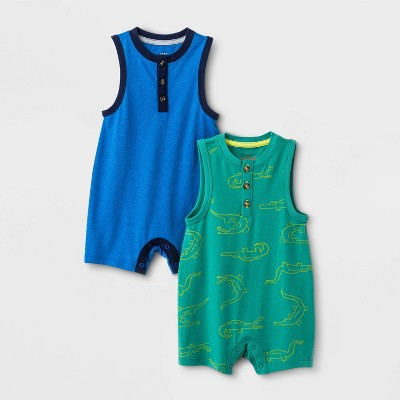 Baby Boys' 2pk Rompers - Cat & Jack™ Blue/Green 0-3M
