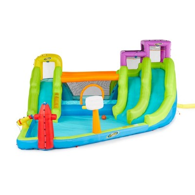 RipTide Triple Fun Inflatable PVC Water Park with 3 Slides, Climbing Wall, and Obstacle Course with Easy Inflation and 350 Pound Weight Capacity