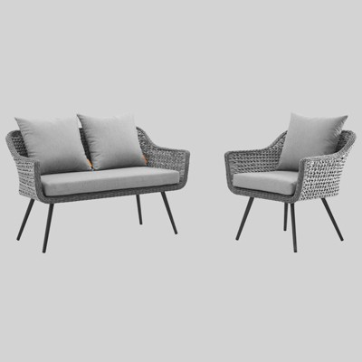 Endeavor 2pc Outdoor Patio Wicker Rattan Sectional Sofa Set Gray - Modway