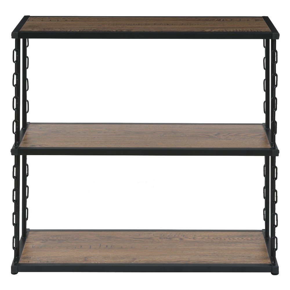 "Image of ""30.4"""" Folsom Ridge 3Tier Book Shelf Black Steel Hickory Oak Wood Grain Finish Brown - OneSpace"""
