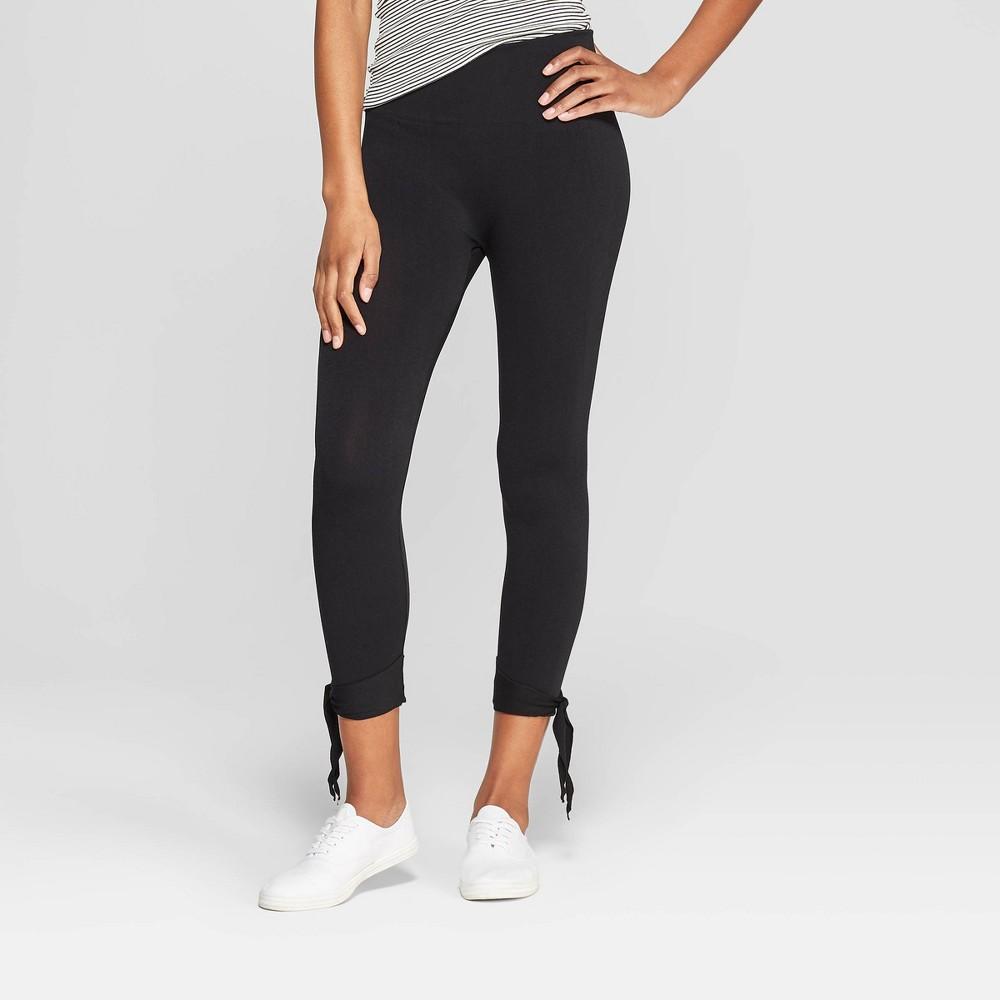 Women's High Waist Seamless Ankle Tie Capri Leggings - Xhilaration Black L/XL