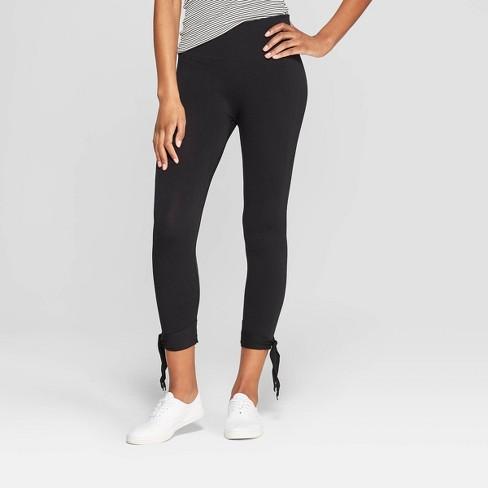 Women's High Waist Seamless Ankle Tie Capri Leggings - Xhilaration™ Black - image 1 of 2