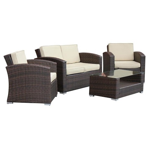 The-HOM Bahia 4 Piece All Weather Wicker Seating Set Dark Brown With Beige Cushions - image 1 of 8