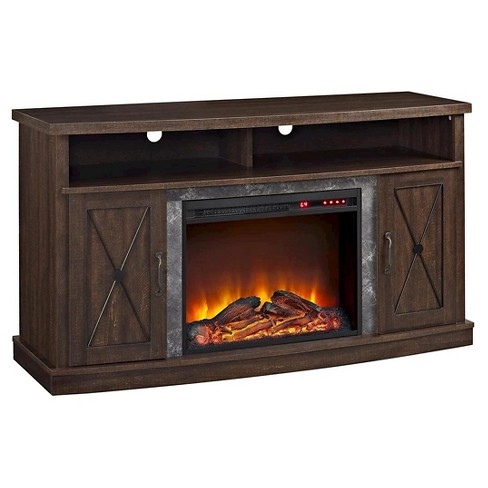 fairmount electric fireplace tv stand for tvs up to 60 espresso room joy - Electric Fireplaces With Tv Stands