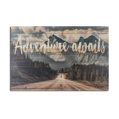 """24"""" x 36"""" Adventure Awaits Mountains Print on Planked Wood Wall Sign Panel - Gallery 57"""