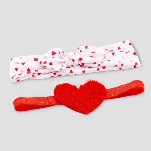 Baby Girls' 2pk Hearts Jersey Headwrap - Just One You® made by carter's Red Newborn - image 1 of 1