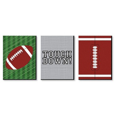 Big Dot of Happiness End Zone - Football - Sports Themed Wall Art and Kids Room Decorations - Gift Ideas - 7.5 x 10 inches - Set of 3 Prints