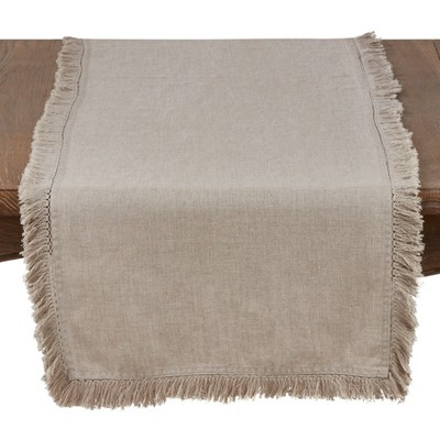 "72""x16"" Linen Stonewashed Fringe Table Runner - Saro Lifestyle"