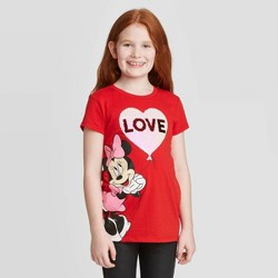 Girls' Disney Minnie Love Short Sleeve T-Shirt - Red