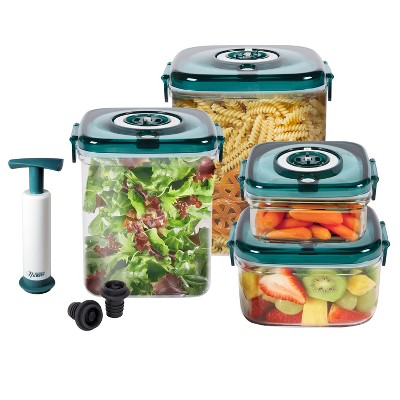 NuWave Flavor-Lockers Food Storage System Vacuum Containers - Blue/Clear