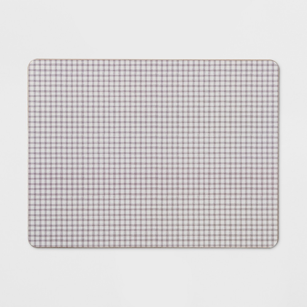 "Image of ""12""""x16"""" Small Gingham Cork Placemat Neutral - Threshold , Beige White"""