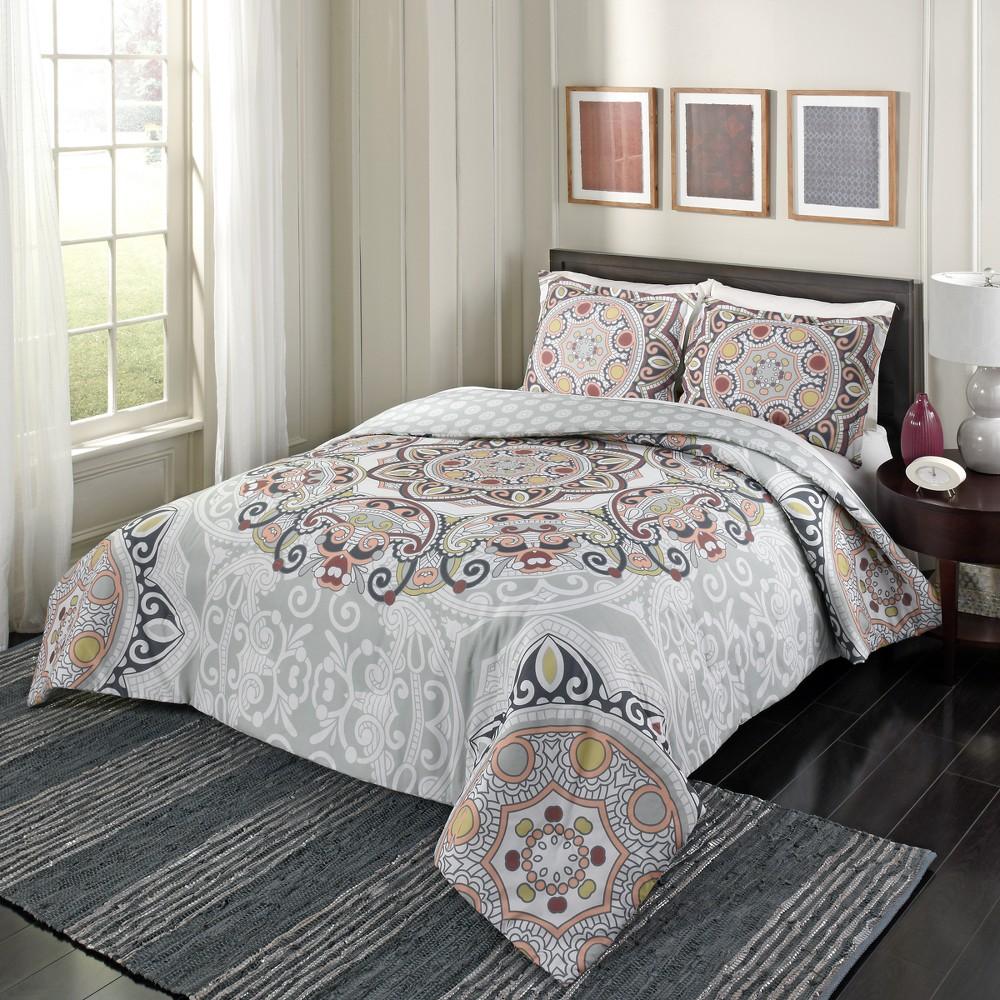 Medallion Regal Rosette Reversible Comforter Set (Queen) - Marble Hill, Multicolored