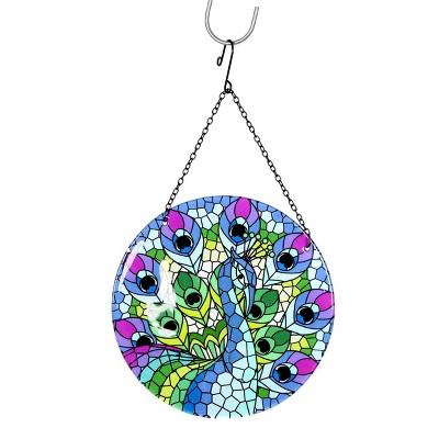 """16.93"""" Metal Hanging Mosaic Peacock Suncatcher - Exhart"""