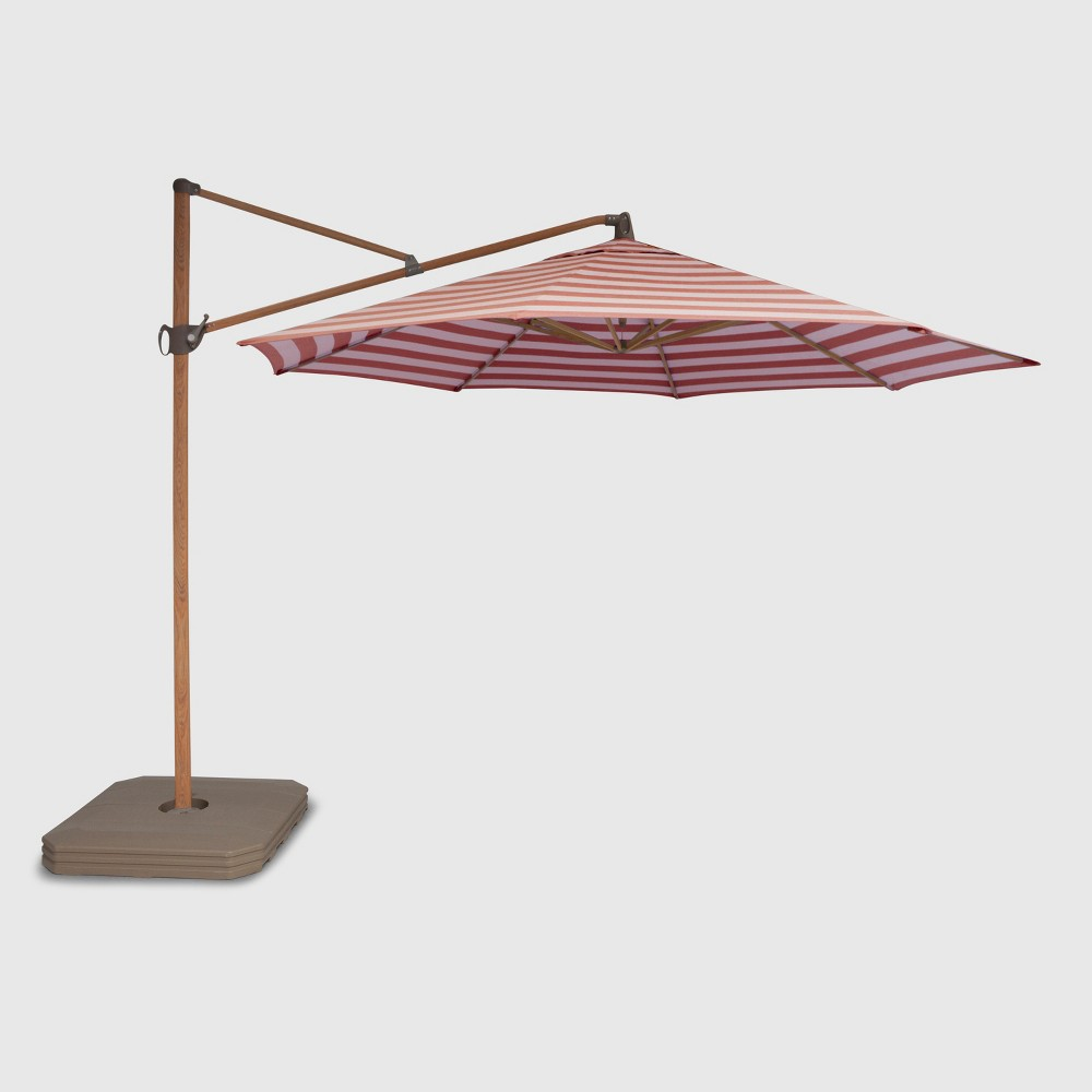 Image of 11' Offset Cabana Stripe Patio Umbrella Red - Light Wood Pole - Threshold