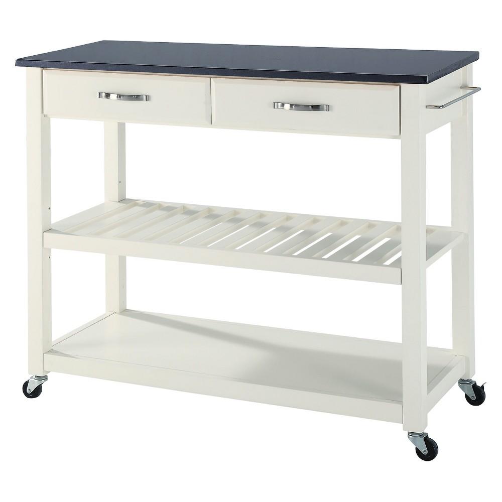 Solid Black Granite Top Kitchen Cart/Island With Optional Stool Storage - White - Crosley