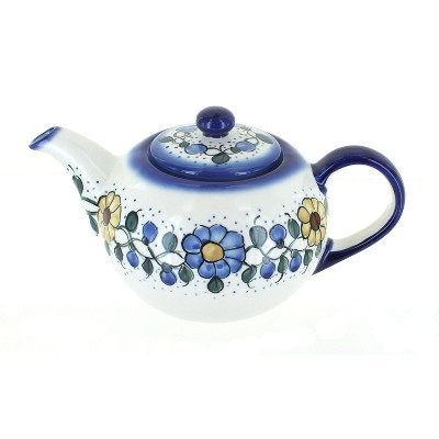 Blue Rose Polish Pottery Geranium Teapot