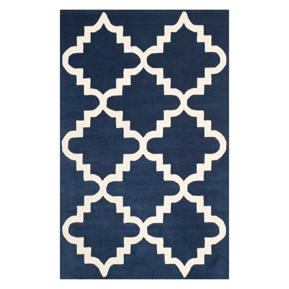 3X5 Geometric Tufted Accent Rug Dark Blue/Ivory - Safavieh Price