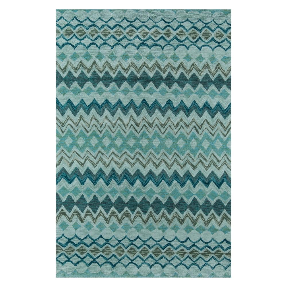 8'X10' Stripe Tufted Area Rug Teal (Blue) - Momeni