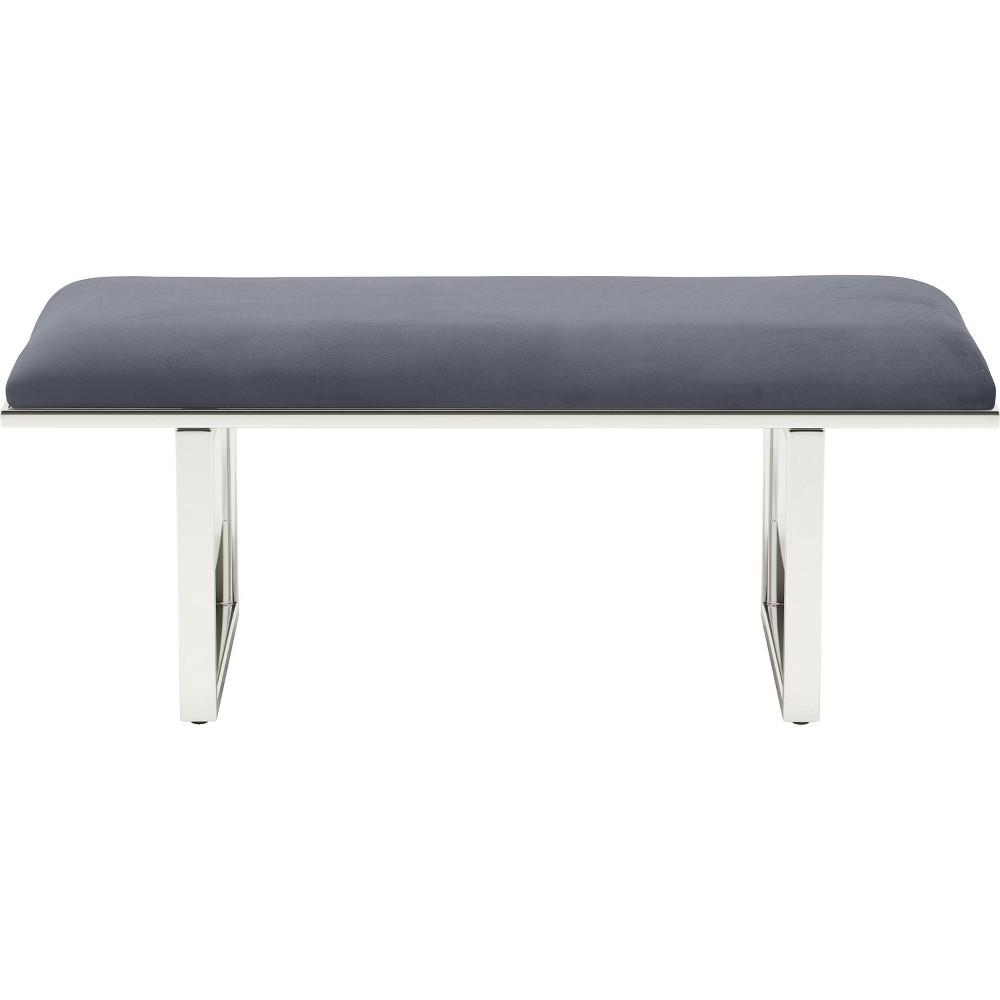 Remi Upholstered Bench French Dark Gray Velvet Adore Decor