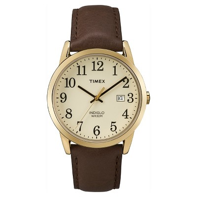 Men's Timex Easy Reader  Watch with Leather Strap - Gold/Brown TW2P75800JT