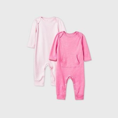 Baby Girls' 2pk Romper - Cloud Island™ Pink Newborn