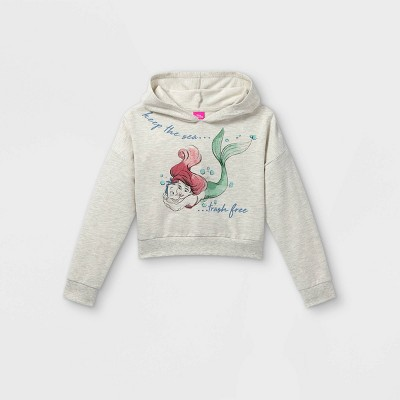 Girls' Disney Princess Ariel Hooded Pullover Sweatshirt - Off-White